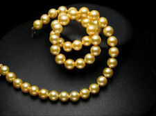 "CHARMING 18"" AAA 9-10MM SOUTH SEA GOLD PEARL NECKLACE 14K YELLOW GOLDEN CLASP"