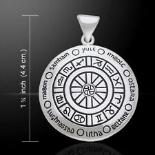 Wheel of the Year Pendant Pagan Sabbat Wicca Jewelry Zodiac Astrology