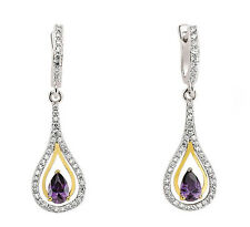 Sterling Silver Platinum Plated Amethyst & CZ Drop Earrings With 9k Gold Detail