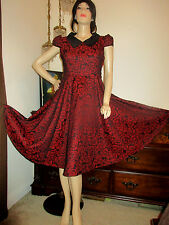 Hearts & Roses H&R dress Regina Brocade floral vtg inspired Retro  Sz 12