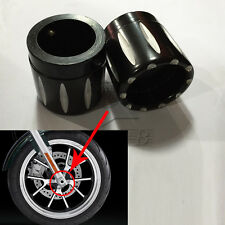 New Black Contrast Cut Front Axle Nut Cover for Harley Dyna Softail V-Rod Glide
