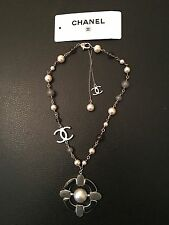 CHANEL silver chain bag dress MEDALLION necklace BLACK grey with WHITE PEARLS