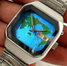 RICOH JAPAN AUTOMATIC DAY DATE DESIGNER WORLD MAP BLUE DIAL STEEL MEN RARE WATCH