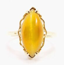10k Solid Gold Tiger Eye Ring Large Stone Simple Can Be Sized Free Shipping