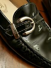 Tod's Black Leather Loafers Ballet Flats shoes Luxury TODS Size 8