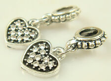hot European Silver CZ Charm Beads Fit sterling 925 Necklace Bracelet Chain s2v9