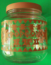 Vintage Large Glass Jar Screw on Lid Decorated  Geometrical Design Lithograph