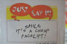 SMILE CHEAP FACE LIFT words L@@K@photoexample ART IMPRESSIONS RUBBER STAMPS WOOD