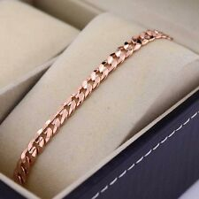 "18k Rose Gold Filled Charm Bracelet Smooth 8""Chain Curb Link GF Fashion Jewelry"