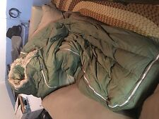 Vintage 1953 Korean War US Military Casualty Down Sleeping Bag Fur Liner