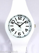 Ravel Ladies Big Number Regular Watch set in White Silicone Strap, Summer Range