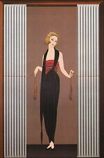 """CLASSIC ERTE' ART DECO BOOK PRINT """"BOUDOIR"""" LADY IN OUTFIT CLOSING CURTAINS"""
