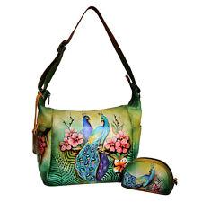 Anuschka 2in1 Medium Crossbody Hobo Handbag Coin Key Wallet Passionate Peacocks