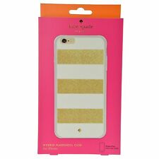 Kate Spade Hybrid Hard Shell White & Gold Stripe Case for iPhone 6 Plus 6s Plus