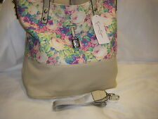 "NWT JESSICA SIMPSON HANDBAG TOTE ""GETAWAY"" FLORAL/TAUPE MSRP $98"