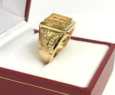18k Solid Yellow Gold Initial H Dragon Man Ring .Sz 7.75, 8.81 Grams