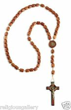 Men's St. Benedict Large Rosary - Cross 2.5 Inches - Jatoba Wood. Made in Brazil