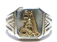 "ART NOUVEAU DECO SIGNET SHIELD CREST INITIAL ""A"" STERLING SILVER 10K GOLD RING"