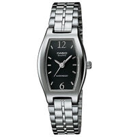 Casio LTP1254D-1A, Women's Analog Silver-tone Bracelet Watch, Black Dial