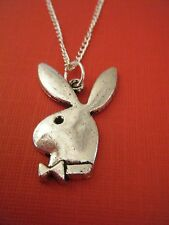 "FREE GIFT ** ANTIQUED SILVER ""Playboy Type Bunny"" PENDANT W/16""  CHAIN NECKLACE"