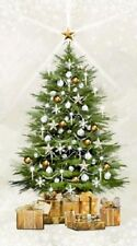 WHITE CHRISTMAS SILVER METALLIC CHRISTMAS TREE FABRIC PANEL