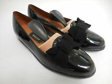 Gorgeous Bally shoes flat black patent slip on with suede leather bow UK5