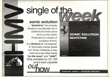 28/3/92Pgn21 Advert: Sonic Solution Clubland Hit beatstime In Hmv Now 7x11