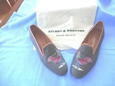 Stubbs & Wooten gray green flats with embroidered roosters size 9AA