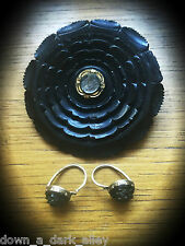 Antique Victorian Whitby Jet Mourning Brooch & Matching Earrings - Gothic