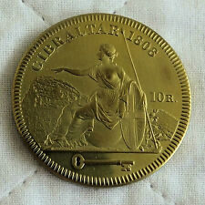 GIBRALTAR GEORGE III 1808 GOLDEN ALLOY PROOF PATTERN 10 REALES CROWN - coa
