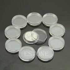 10 PCS Applied Clear Round Cases Coin Storage Capsules Holder Round Plastic 20mm