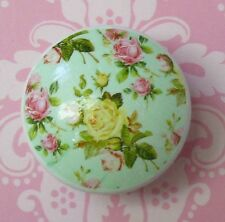 Pink Roses Knob Ceramic Bath pull chic shabby flowers drawer Turquoise Kitchen