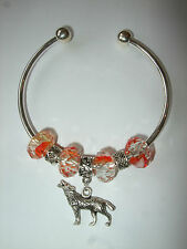 Handmade Wolf Bangle Bracelet Red Orange Beads European Twilight Wild Animal