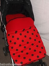 UNIVERSAL FOOTMUFF/COSYTOES RED WITH BLACK POLKA DOTS RED FLEECE INNER NEW