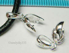 1x STERLING SILVER LEAF PINCH IN PENDANT BAIL CLASP SLIDE N641