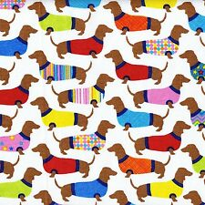 Fabric Dogs Dachshunds Wearing Sweaters on White Cotton by the 1/4 yard BIN