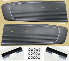 NEW! 1965 Mustang Black Door Panels, Kit, Pads, Bases, Clips Left & Right Side