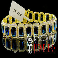 GENUINE 925 ITALIAN SILVER YELLOW GOLD FINISH SAPPHIRE BLUE RICK ROSS BRACELET