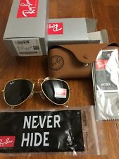 RAY BAN AVIATOR 3025 BLACK LENS GOLD FRAME 58 MM -Medium