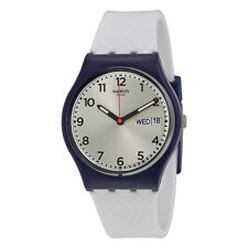 Swatch White Delight Silver Dial White Silicone Strap Mens Watch GN720