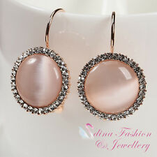18K Rose Gold Plated Simulated Opal Popular Large Hoop Earrings Jewellery