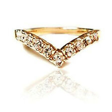 Gold with Rhinestones Wave Small Ring size M diameter = 16.50 mm FR90
