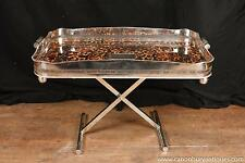 Victorian Silver Plate Tray on Stand Platter Server Faux-Tortoiseshell