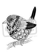 A7 'Monochrome Bird On Tree Branch' Unmounted Rubber Stamp (SP002489)