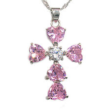 Heart Cut Stone White Gold Plated Swarovski Elements Cross Pendant Necklace