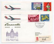 1963 SVIZZERA SWISSAIR CARARELL VOLO BELGRAD-ZURICH E ZURICH-BELGRAD B/7923