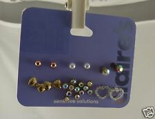 Claires Earrings studs pierced heart crosses cross balls assortment 6 pairs