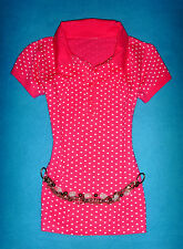 FLASHLIGHTS SHIRT ROCKABILLY ROMANTIK BOHO PINK-WEISS HERZEN S 36 NEU !!! TOP !!
