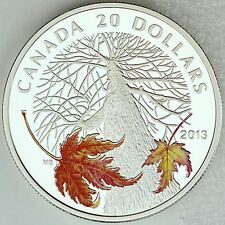 2013 $20 Canadian Maple Canopy in Autumn .9999 Pure Silver Color Proof Coin
