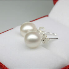 Genuine 7-8MM Sterling Silver Freshwater White Akoya Pearl Stud Earring